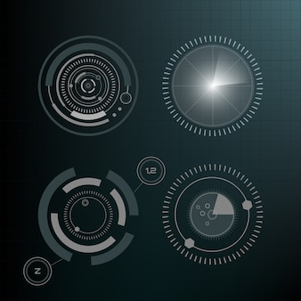 Elementi tecnologici hud, realtà virtuale dell'interfaccia futuristica. elementi infografici. elementi di visualizzazione head-up per il web e l'app. interfaccia utente futuristica. grafica virtuale.