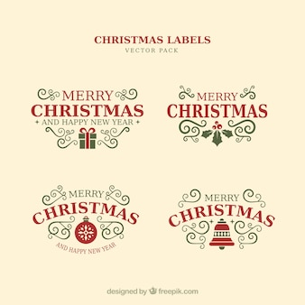 Elementi tipografici di Natale, etichette d'epoca e nastri