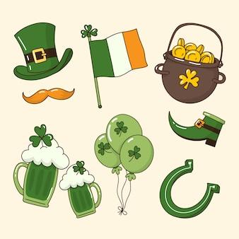Elementi tradizionali verdi e birra st. giorno di patrick