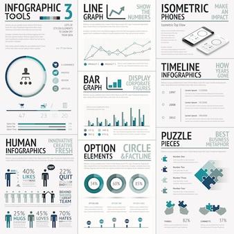 Elementi vettoriali di business per visualizzazione dati infografica