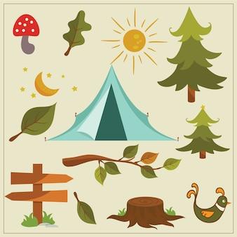 Elementi vettoriali di campeggio natura
