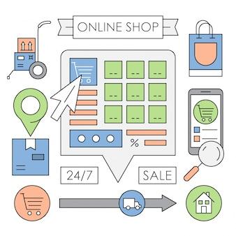 Elementi vettoriali negozio web lineari in design minimale