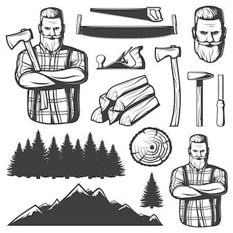 Elementi vintage lumberjack