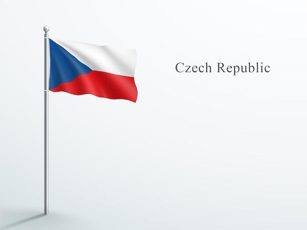 Elemento 3d di bandiera della repubblica ceca che ondeggia sul pennone in acciaio