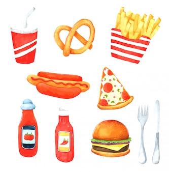 Elemento acquerello disegnato a mano di fast food per il design