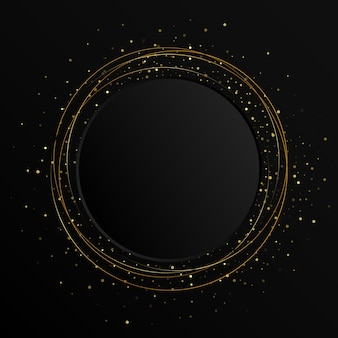 Elemento astratto di colore oro con effetto glitter su sfondo scuro. bandiera nera del cerchio