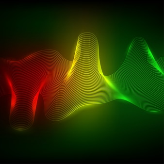 Elemento astratto onda neon per il design.