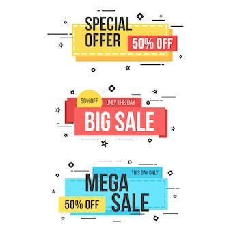 Elemento banner web vendita stile memphis