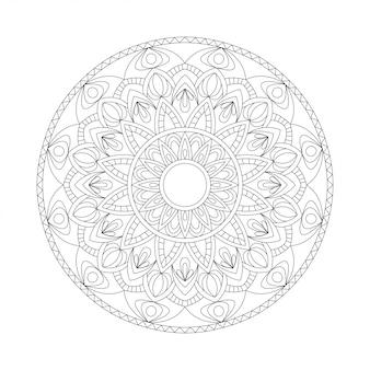Elemento bianco nero di disegno astratto. mandala tondo in vettoriale. modello grafico per il tuo design. modello circolare