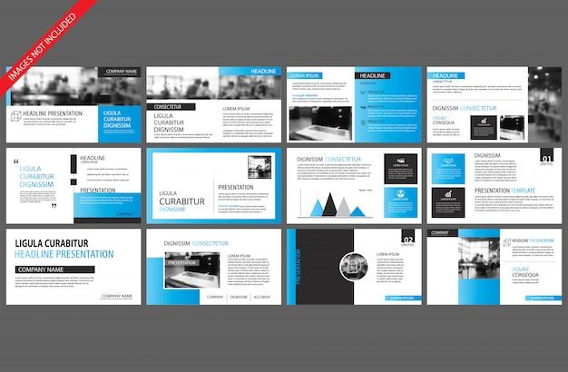 Elemento blu e bianco per diapositiva infografica su sfondo.
