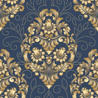 Elemento damascato modello vettoriale senza soluzione di continuità. ornamento damascato vecchio stile di lusso classico, sfondi senza cuciture vittoriani reali