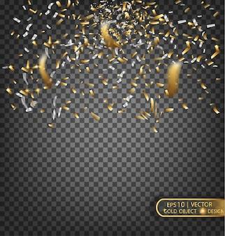 Elemento decorativo festivo coriandoli oro e argento per biglietti di auguri