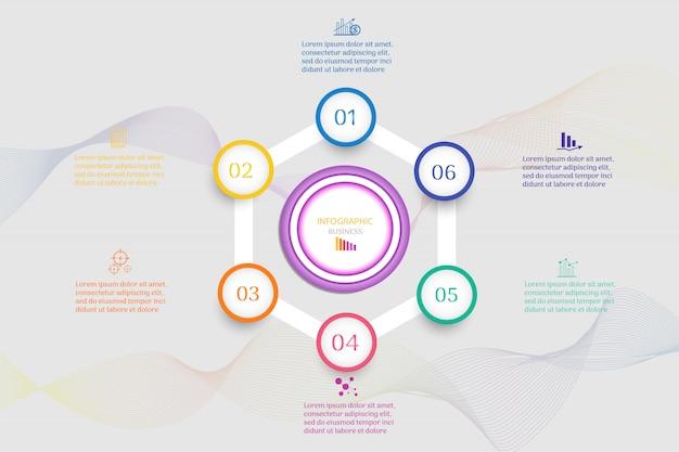 Elemento del grafico di infographic di opzioni di modello di progettazione 6 di affari.
