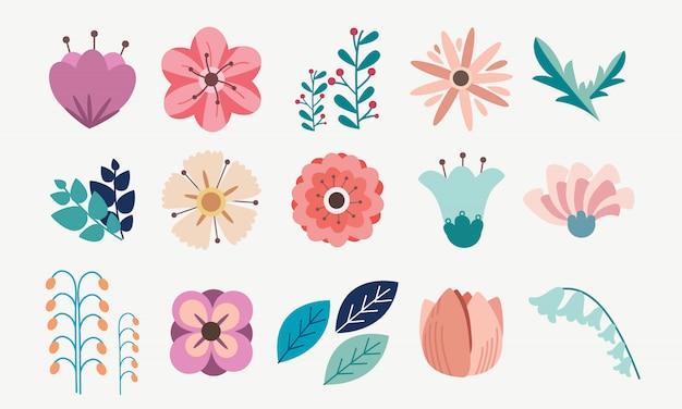 Elemento del set di fiori floreali
