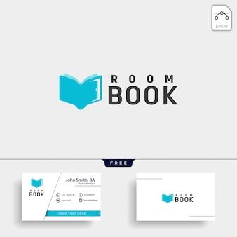 Elemento dell'icona dell'illustrazione del modello di logo della biblioteca del libro di istruzione della porta