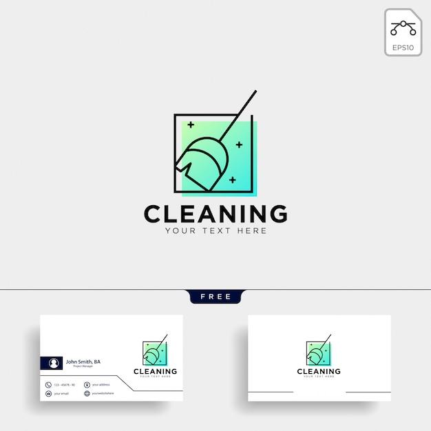 Elemento dell'icona dell'illustrazione di vettore del modello di logo di servizio di pulizia