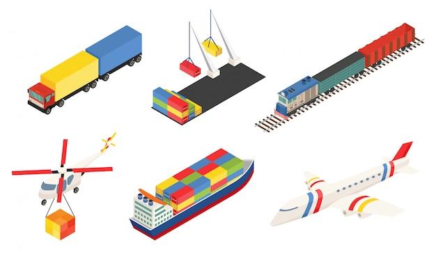 Elemento della rete logistica globale. diversi tipi di trasporto.