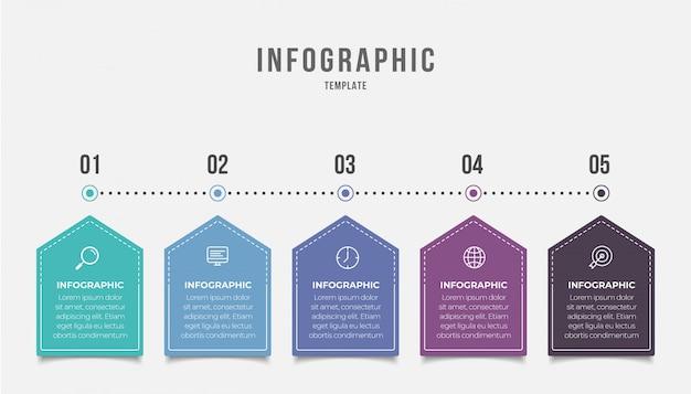 Elemento di business infografica con 5 opzioni, passaggi, disegno modello numero