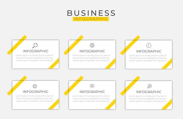 Elemento di business infografica con 6 opzioni, passaggi, disegno del modello di numero