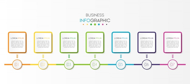 Elemento di business infografica con 7 opzioni o passaggi