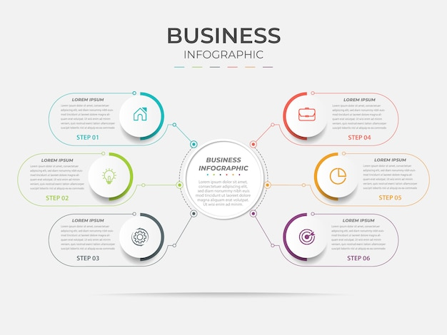 Elemento di business infografica linea a sei gradini.