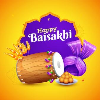 Elemento di celebrazione festival indiano sul backgro giallo e viola