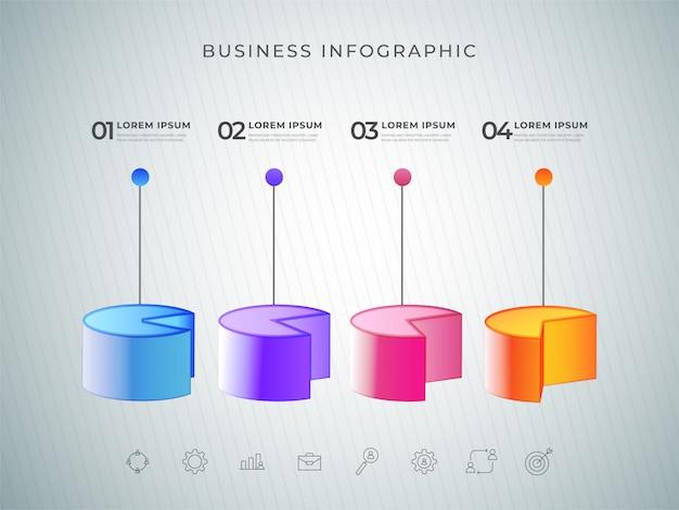 Elemento di colore grafico a torta 3d infografica o grafico con quattro passaggi