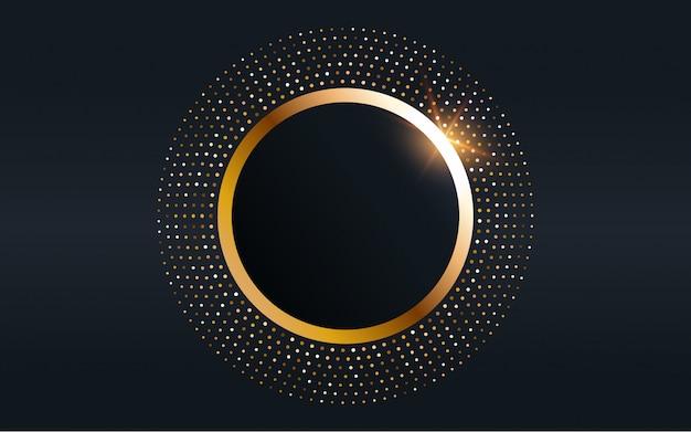 Elemento di cornice rotonda in oro. sfondo glitterato
