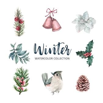 Elemento di design ad acquerello a tema invernale