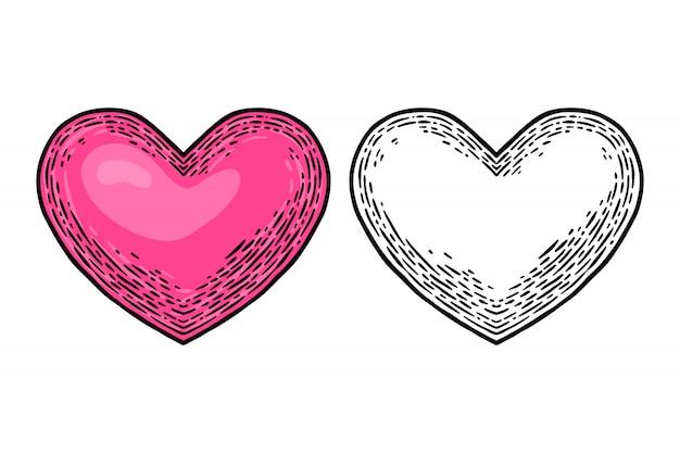 Elemento di design illustrazione vettoriale isolato cuore retrò vintage.