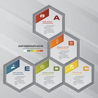 Elemento di design infografica processo 5 passaggi.