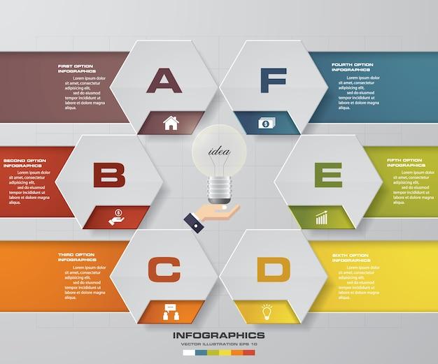Elemento di design infografica processo 6 passaggi.
