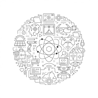 Elemento di design rotondo con l'icona della tecnologia