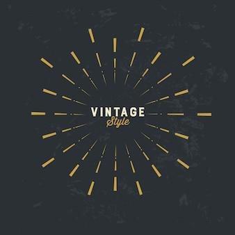 Elemento di design vintage sunburst oro