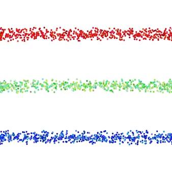 Elemento di disegno di divisione della linea di punti ripetibile - elemento vettoriale da cerchi colorati con effetto ombra