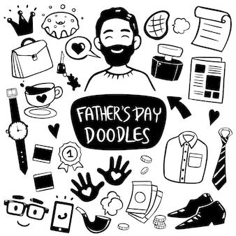 Elemento di doodle di festa del papà felice disegnato a mano