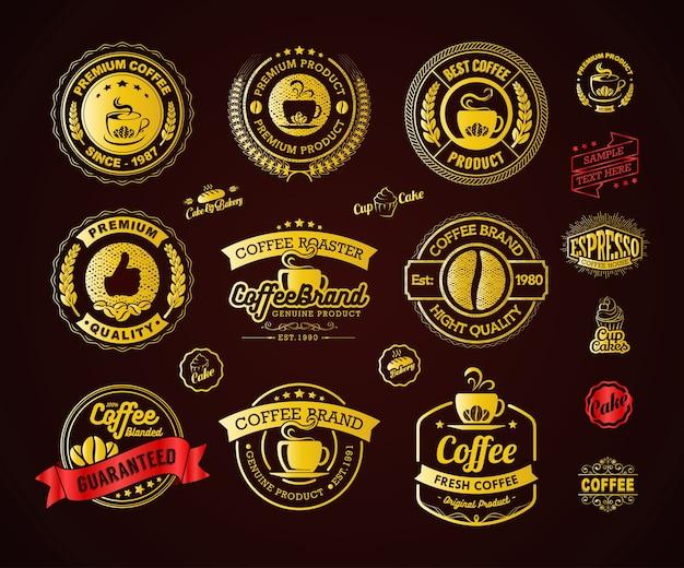 Elemento di etichette e distintivi di golden coffee logos