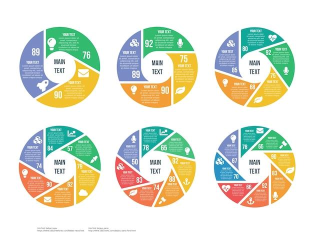 Elemento di infografica a rotazione set di sei elementi