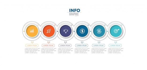 Elemento di infografica con 6 opzioni o passaggi. può essere utilizzato per processo, presentazione, diagramma, layout del flusso di lavoro, grafico informativo, web design.