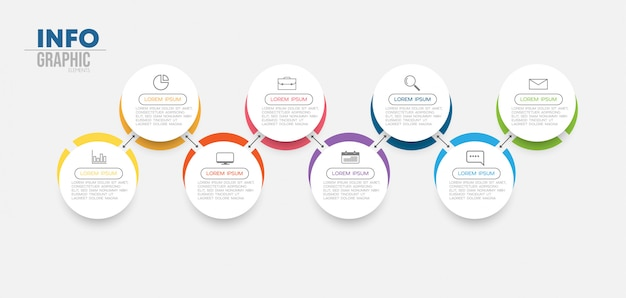 Elemento di infografica con 8 opzioni o passaggi. può essere utilizzato per processo, presentazione, diagramma, layout del flusso di lavoro, grafico informativo, web design.