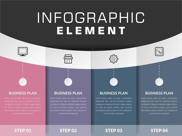 Elemento di infografica con icona per strategia aziendale