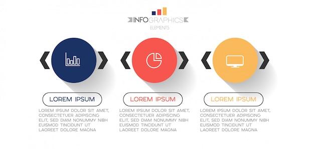 Elemento di infografica con icone e 3 opzioni o passaggi.