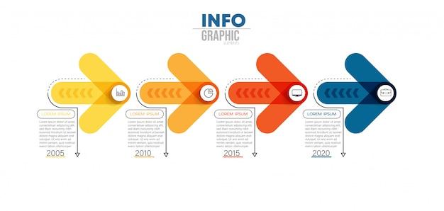 Elemento di infografica con icone e 4 opzioni o passaggi