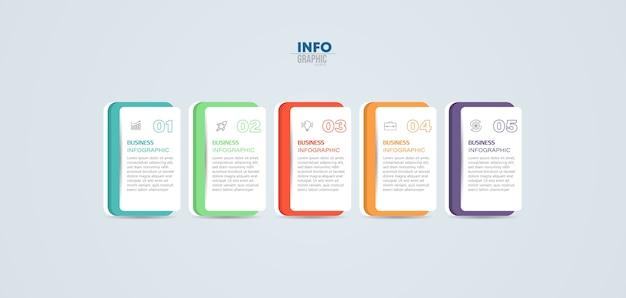 Elemento di infografica con icone e 5 opzioni o passaggi.