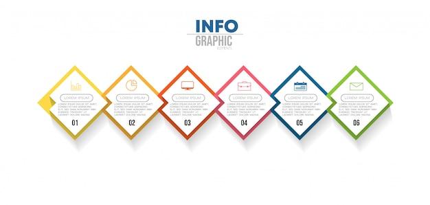 Elemento di infografica con icone e 6 opzioni o passaggi