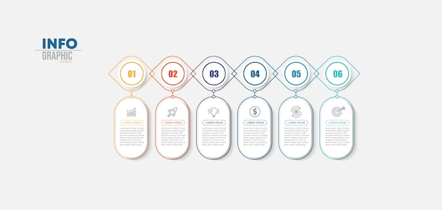 Elemento di infografica con icone e 6 opzioni o passaggi.