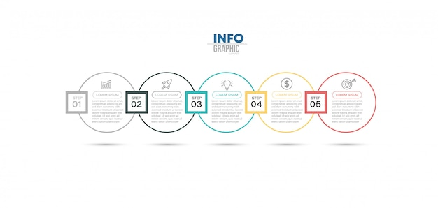 Elemento di infografica con icone e opzioni o passaggi.