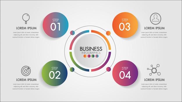 Elemento di infografica di affari. modello di grafico a cerchio grafico con 4 passaggi o opzioni per presentazioni.