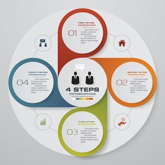 Elemento di infografica di processo 4 passaggi processo.