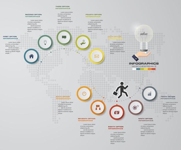 Elemento di infografica di processo di 10 passi per la presentazione.